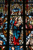 Stained glass. Depicting the Virgin Mary holding baby Jesus (Dome cathedral, Riga, Latvia Stock Photo