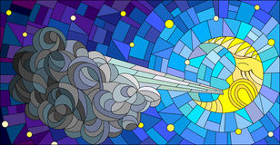 Stained glass abstract illustration with moon and cloud on sky background. Stained glass illustration with fairy moon blowing a cloud against the starry sky Royalty Free Stock Photo
