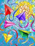 Stained glass abstract illustration of paper planes on sky background and sun Stock Photos