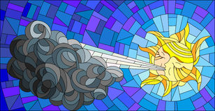 Stained glass abstract illustration with sun and cloud. Stained glass illustration with fairy sun blowing a cloud against the  sky Stock Photo