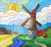Stained glass abstract illustration with windmill on the background of the sky , rivers and fields Stock Photos