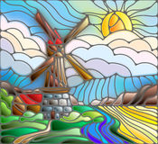 Stained glass abstract illustration with windmill on the background of the sky , rivers and fields royalty free illustration