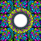 Stained-Glass Abstract Round Frame Stock Photo