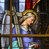 Stained Glass - Allegory on the Suffering of Jesus Stock Photo