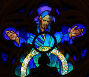 Stained Glass by Alphonse Mucha in Prague Cathedral Royalty Free Stock Photography