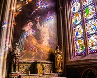 Stained Glass And Canvas In The Chapel Of Cathedrale Saint-Corentin De Quimper. This Is The Is The Seat Of The Bishops Of Quimper- Stock Photos