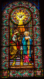 Stained Glass Angel Holy Spirit Mary Monastery Montserrat Catalonia Spain. Stained glass angel tells Mary she will have Jesus holy spirit in Monestir Monastery royalty free stock photography