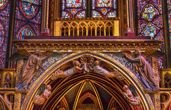 Stained Glass Angels Sainte Chapelle Cathedral Paris France Stock Images