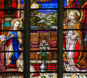 Stained Glass - the Annunciation. Stained Glass window of the Annunciation, in the Cathedral of Saint Rumbold in Mechelen, Belgium stock photography