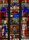 Stained Glass - the Annunciation. Stained Glass window of the Annunciation, in the Cathedral of Saint Rumbold in Mechelen, Belgium stock image