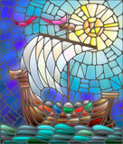 7Stained glass with antique illustration of ship on background sky and sun Royalty Free Stock Images