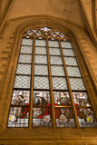 Stained glass in the antwerp cathedral stock photography