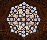 Stained Glass at Arabian Room. Stained Glass at the ceiling of Arabian Room, at Palacio da Bolsa in Porto, Portugal Stock Photo