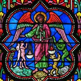 Stained Glass - the Archangel Michael Royalty Free Stock Photos