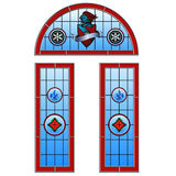 Stained glass arched door set Royalty Free Stock Images