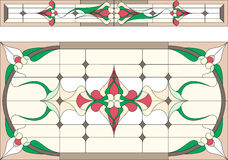 Stained glass in Art Deco style / Abstract floral, Tiffany technique. Vector. Royalty Free Stock Images