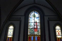 Stained Glass At St. Mary`s Cathedral, Yangon Royalty Free Stock Photography