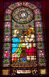 Stained Glass Baby Jesus Mary Monastery Montserrat Stock Photo