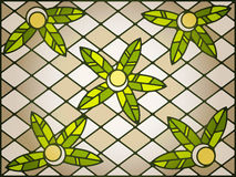 Stained glass background. Stained glass abstract background in yellow, green and brown tones royalty free illustration