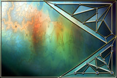 Stained Glass Background Layout. Stained-glass background frame made in Photoshop using my own fractals, textures, images and PS  brushes. A unique background Royalty Free Stock Photos