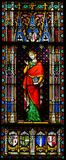 Countess Sibylla of Anjou - Stained Glass. Stained Glass in the Basilica of the Holy Blood in Bruges, Belgium, depicting Countess Sibylla of Anjou, a countess stock photography