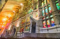 Stained glass in basilica Sagrada Familia, Barcelona Stock Images