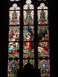 Stained glass in the Basilica. Prague Stock Photo