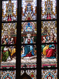 Stained glass in the Basilica of Saints Peter and  Royalty Free Stock Photo