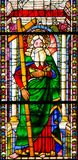 Saint Andrew - Stained Glass in Santa Croce, Florence Royalty Free Stock Photo