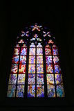 Stained glass. Beautiful and historic Cathedral of St.. Wit in the Czech capital royalty free stock images