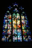 Stained glass. Beautiful and historic Cathedral of St.. Wit in the Czech capital royalty free stock photos