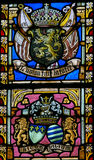 Stained Glass - Belgian Lion and Flags of WWI Allies Royalty Free Stock Photo