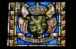 Stained Glass - Belgian Lion and Flags of WWI Allies Stock Image