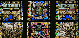 Stained Glass - Belgian Lion and Flags of WWI Allies Stock Photography