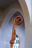 Stained Glass Beyond Crosier. Crosier in the chapel of a Catholic Monastery Stock Image