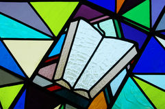 Stained Glass of the Bible. Modern stained glass of the Bible Royalty Free Stock Photo