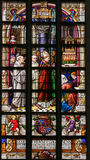 Stained Glass - Bishop and Priests in the Church of St Gummarus. Stained Glass window in St Gummarus Church in Lier, Belgium, depicting a Bishop and Priests royalty free stock photo