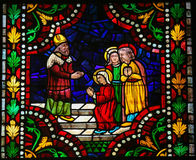 Stained Glass of the Blessed Virgin Mary in the Cathedral of Leo Royalty Free Stock Photography
