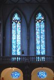 Stained glass blue inside a church in Mainz Germany Stock Photography