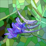 Stained glass with blue and lilac flower Stock Photography