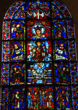 Stained Glass The Blue Virgin at Chartres Cathedral Stock Photos