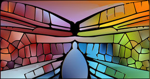 Stained glass with bright glowing glare. Royalty Free Stock Photo