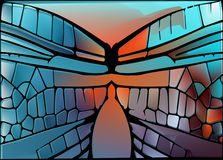 Stained glass with bright glowing glare. Royalty Free Stock Images
