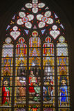 Stained glass at Brussels Cathedral. Gothic Cathedral of St. Michael and St. Gudula in Brussels Stock Images
