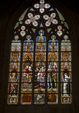 Stained glass at Brussels Cathedral. Gothic Cathedral of St. Michael and St. Gudula in Brussels Stock Photo