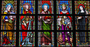 Stained Glass in Brussels Sablon Church - Catholic Saints Royalty Free Stock Images