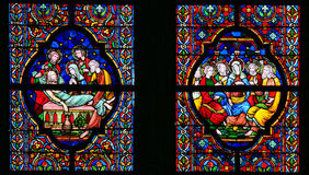 Stained Glass - Burial of Jesus and Pentecost Royalty Free Stock Images