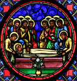 Stained Glass - Burial of Mother Mary Stock Image
