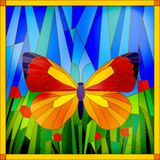 Stained glass butterfly. Colorful stained glass butterfly on sky and grass background Royalty Free Stock Images