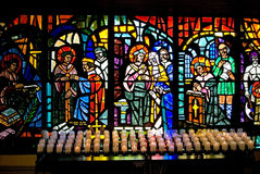 Stained Glass and Candles Royalty Free Stock Photo